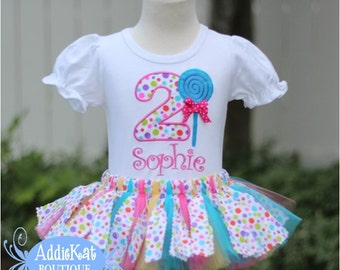 Personalized Confetti Lollipop Fabric Tutu Birthday Outfit