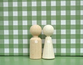 Waldorf Family of 2 eco friendly Wooden pocket doll/ gnomes - Children Toy, home Decoration, party favors, beige white, statteam