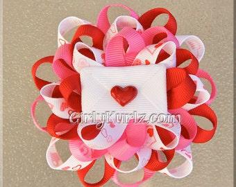 Valentine Hair Bow, Valentine Hair Clip, Valentine's Love Letter Hair Clip, Pink Red White, Flower Hair Bow