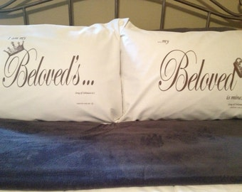 I am my Beloved's and my Beloved is mine. - King-size pillowcase set.