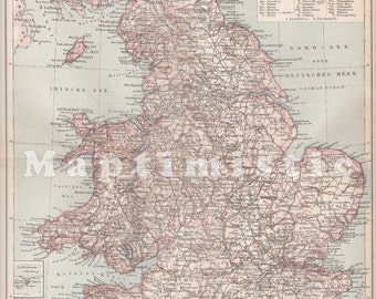 1898 England and Wales at the end of the 19th Century Original Antique Map