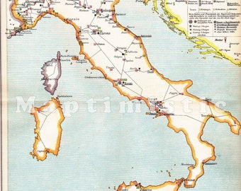 1898 Army and Military Locations and Basis in Italy at the end of the 19th Century Antique Map