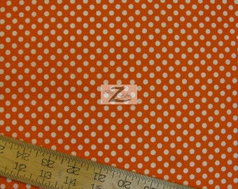 "Polka Dots White Dots On Orange 100% Cotton Fabric .25"" Dots - Sold By The Yard  - 45"" Width (FH-55)"