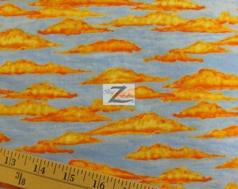 """Sky Clouds Hop Along Pals By South Sea Imports 100% Cotton Fabric - 45"""" Width Sold By The Yard (FH-586)"""