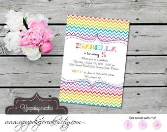 Rainbow Digital Invitation--Rainbow Chevron--Birthday Party--Baby Shower--Printable Invite--DIY
