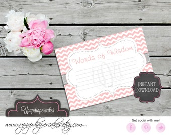 INSTANT DOWNLOAD--Baby Shower Advice Card--Words of Wisdom Card--Pink Chevron, Grey, Gray--Digital File--PDF File