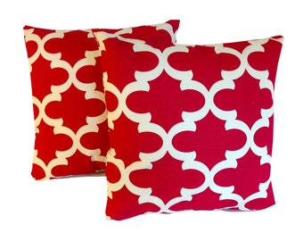 Red Throw Pillow Covers Two  Red  20 X 20  Accent Pillows  Throw Pillows  Decorative Throw Pillows