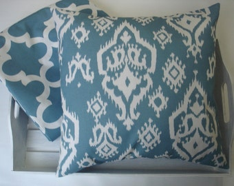 Decorative Throw Pillows Blue Pillows Two  18 inch Pillows.Hostess Gift  Accent Pillows  Fabric Front and Back Blue Pillow Covers