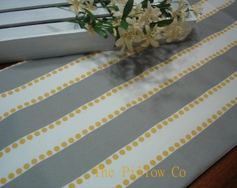 """Gray / Yellow Table Runner - Wedding - 13"""" X 108"""" Table Cloth - Decorative  Table Runner .  Fabric Runner"""