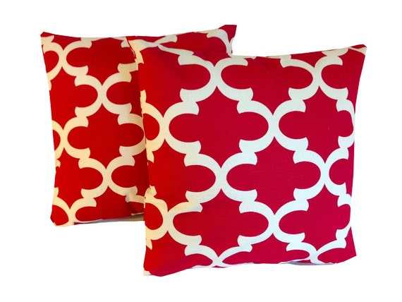 Items similar to Red Throw Pillow Covers Two Red 20 X 20 Accent Pillows Throw Pillows Decorative ...