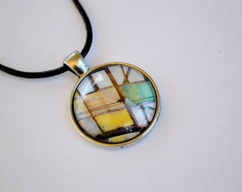 One Inch Round Glass Pendant Necklace - Original Photography - Packard Plant Detroit Michigan - Abstract - Blue - Yellow