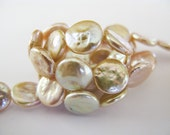 Rose Coin Freshwater Pearls, Natural Pearls, Round, Flat, AAA, 11mm, 7 Pearls
