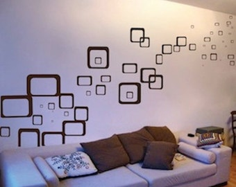 rectangles and squares wall decals shapes wall designs removable wall shapes cool wall decor - Wall Design Decals