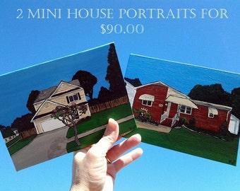 A Pair of 5 x 7 Custom House  Portraits or Landscape Portrait