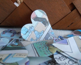 100 Comic Strip Hearts - Heart Confetti - Party Decorations - Scrapbook Supply