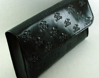 Handbag clutch black with skulls