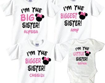 Big Sister, Bigger Sister, Biggest Sister, Baby Sister 4 T-Shirt Sibling Set with Pink and Black Lettering Tees