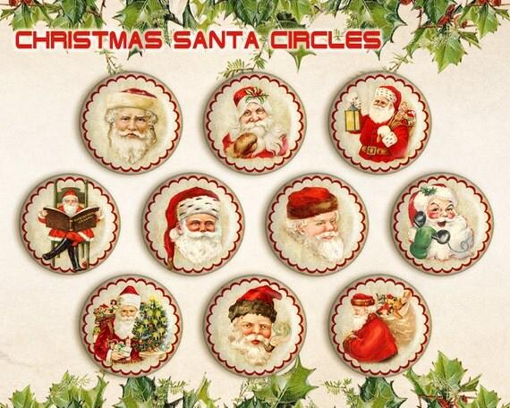 Christmas Santa Circles Printable Circles Digital Collage