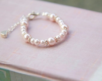 Baby - Girl Bracelet - Handmade - Light Pink theme with heart link extension. Pink Glass Pearls Baby to Girl Bracelet