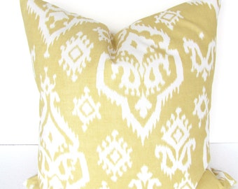 Sale. YELLOW PILLOWS Yellow Decorative Throw Pillows Yellow Throw Pillow Cover 16x16 Gold Pillow Covers Ikat Home and living Home Decor