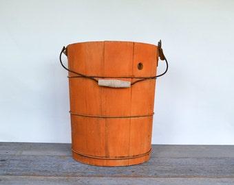 Vintage Wood Ice Cream Pail |Bucket | Wooden Bucket | Orange Wood Bucket | Farmhouse Style | Cottage Style
