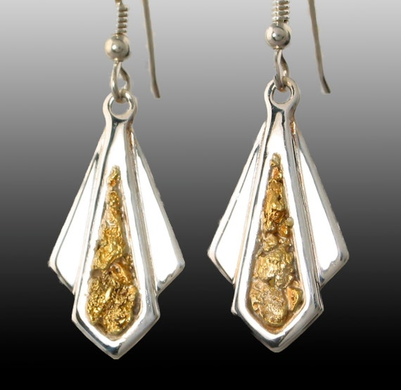 22kt Gold Platinum: Style 181 Sterling Silver Earrings With 22Kt Gold Inlay