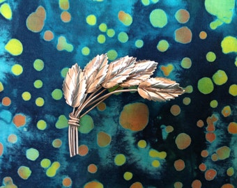 Handmade Sterling Silver Brooch with Five Leaves