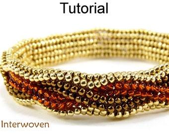 Beading Tutorial Bracelet - Herringbone Stitch - Simple Bead Patterns - Interwoven #5295