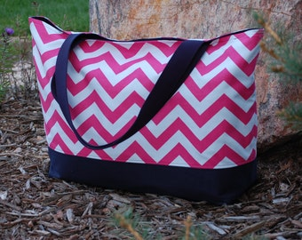 Pink Chevron Tote with Navy