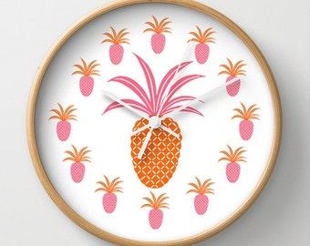 Pineapple Wall Clock Natural Wood Black White Frames Ananas Tropical Sweet Tropics Fruit Hot Pink Neon Orange Pop Art Decorativee Bright Fun