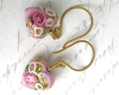 Stunning pale pink and gold Venetian 13mm puffed hearts exquisitely decorated on 14kt gold vermeil wires