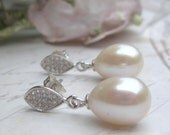 Stunning bridal Sterling silver marquise leaf stud earrings with 12 mm teardrop ivory freshwater pearls l pearls