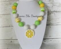 Yellow Lemonade Chunky Bubblegum Bead Necklace. photography Photo prop