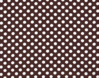 Brown and white flannel polka dots - white dots on chocolate brown - YARD