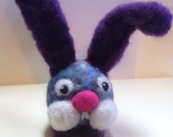 Easter bunny, pink or purple handmade wool, eggs, needle felted animal, primitive ornament