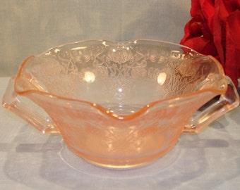 Florentine No. 1 Pink Depression Glass Cream Soup