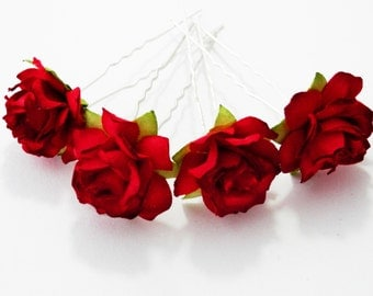 Red Rose Floral Hair Pin Set/ Traditional/ Bridal/ Wedding Hair Accessories/ Bridesmaid Hair Pins/ Wedding Flower Pins