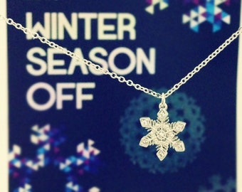 White Crystal Snowflake Necklace in Silver, Holiday Gift, Christmas Gift
