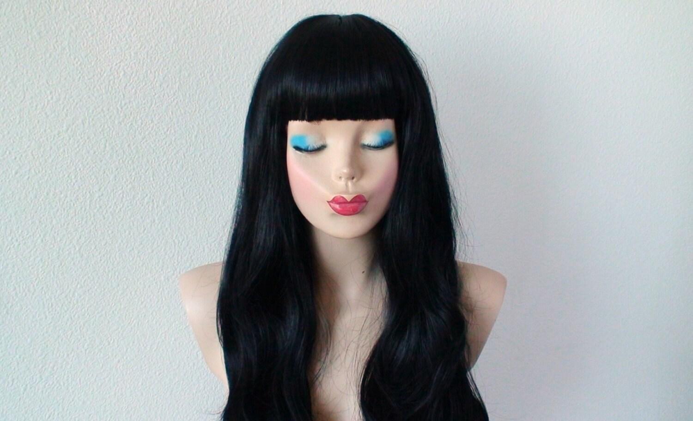 Black Wig. Long Black Hair Wig. Straight Across Bangs Wig