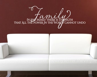 Family Power Strength Vinyl Wall Home Decor Decal Sticker