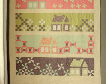Calling Me Home queen size quilt pattern  - printed pattern sent by the mail - homes, houses and patchwork in a modern quilt layout