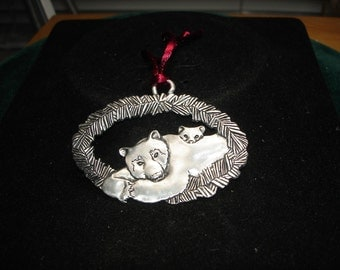 Pewter Bear Double Sided Hanging Ornament