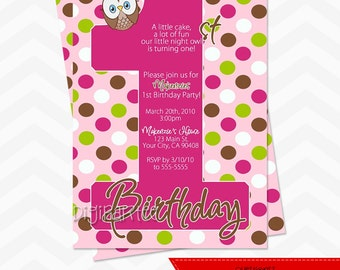 Look Whoo's turning one OWL invitation