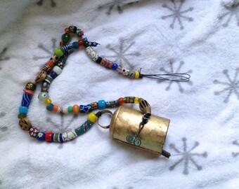 Garden Bell Brass Gong Gold Bell Chimes Hanging Bell Dangle Folk Art African Beads Bell