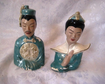 Vintage bust of Asian couple, chalkware bust Asian man, woman, chinoiserie chic, mid century,  1158