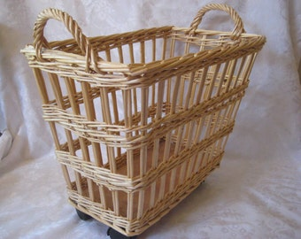 Wicker magazine basket on wheels with handles, magazine rack, portable storage basket