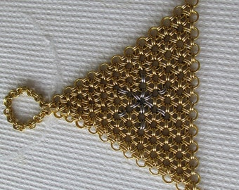 Brass and steel chainmaille hand flower