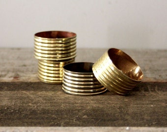 Vintage Brass Ridged Napkin Rings
