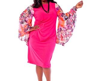 Women's Plus Size Fuschia Bell Sleeve Dress