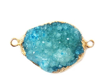 Sky Blue Druzy Connector, Gold